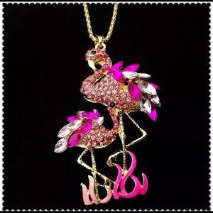 Hot pink rhinestone flamingo necklace